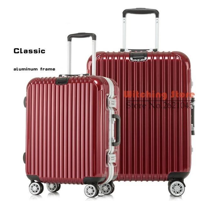 24 PULGADAS 2024252629 # En el con caja de la barra caliente, marco de aluminio, universal ruedas carro bolsas de equipaje maleta de una generación