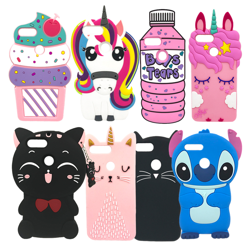 For Huawei P Smart Case Cover Cute 3D Cartoon Soft Silicone Phone Back Cover Protective Case For Huawei PSmart P Smart Fundas