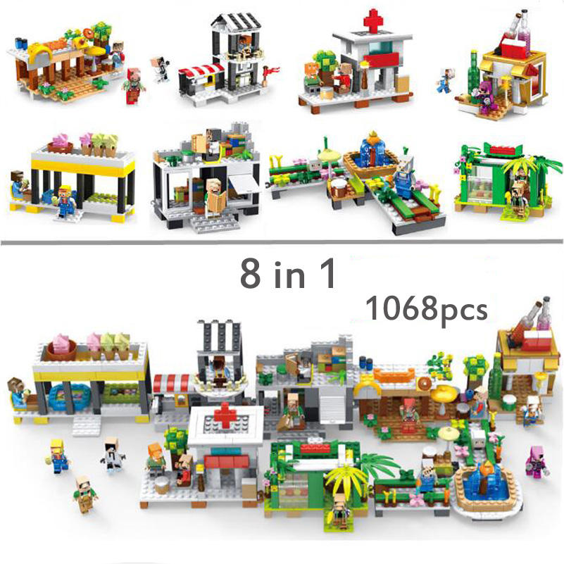 1068pcs 8 in 1 My World Building Blocks Classic House Street Compatible Minecrafted Block Toys For Children Education DIY Gifts 8 in 1 military ship building blocks toys for boys