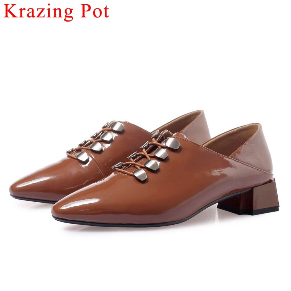 Krazing Pot concise princess style chunky med heels slip on luxury cow patent leather square toe fashion rivets casual shoes L89Krazing Pot concise princess style chunky med heels slip on luxury cow patent leather square toe fashion rivets casual shoes L89