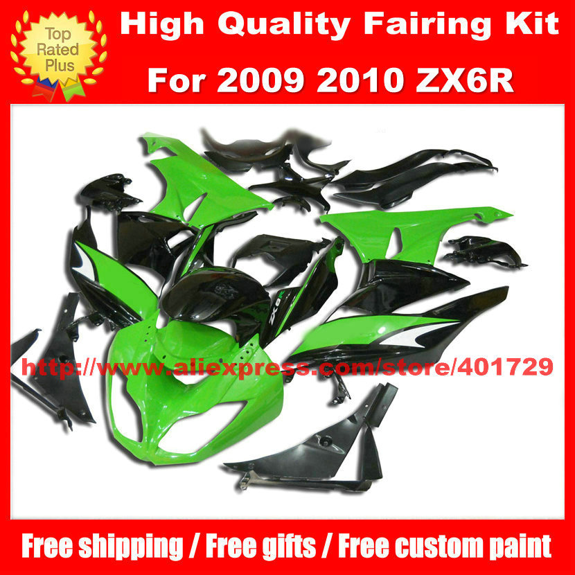 Racing motorcycle fairing for Ninja ZX6R 09 10 2009 2010 ZX 6R free windshield and heatshield green black fairing set