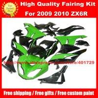 Racing motorcycle fairing for Ninja ZX6R 09 10 2009 2010 ZX 6R free windshield and heatshield green black fairing set