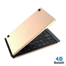лучшая цена hot sale folding mini bluetooth keyboard metal wireless keyboard for Android mobile phone tablet for xiaomi