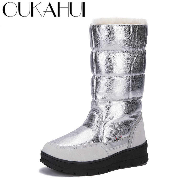 ac7c26b1c13 OUKAHUI High Quality Autumn Winter Ladies Snow Boots Fur High-Top Thicken  Warm Non-Slip Winter Boots Women Fashion Half Boots 41