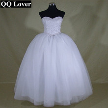 QQ Lover 2017 Elegant Pearls Ball Gown Wedding Dress Custom-made Vestido Bridal Gown Vestido De Noiva