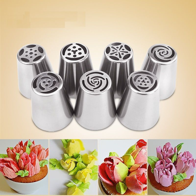7pcs Stainless Steel Russian Tulip Icing Piping Nozzles Pastry Decorating Tips Cake Cupcake