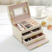 PU Leather Women Jewelry Box For Earrings Rings Three layer Drawer Makeup Organizer Storage Travel Portable Jewelry Storage Boxe