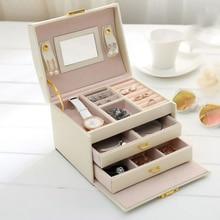 PU หนังกล่องเครื่องประดับต่างหูแหวนสามชั้นลิ้นชัก Makeup Organizer กระเป๋าเดินทางแบบพกพาเครื่องประดับ Boxe