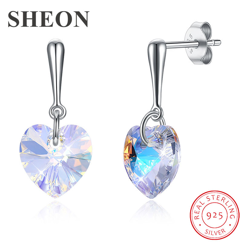 SHEON Valentine Day 100 925 Sterling Silver Love Heart Gold Color Crystal Stud Earrings for Women Luxury Earrings Jewelry in Stud Earrings from Jewelry Accessories