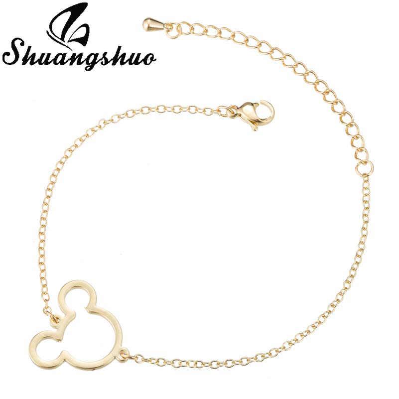 Shuangshuo выдалбливают браслеты с Микки для женщин Серебряный браслет мультфильм мышь из нержавеющей стали femme очаровательные браслеты ювелирные изделия