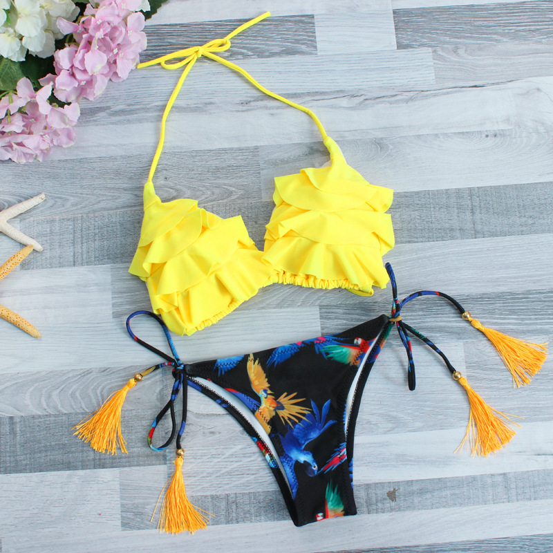 Buy Sexy Petals Bikini Top Print Bottom Bikini Set Swimwear lani Women 2018 Halter Thong Swimsuit Girl Ladies Brazilian Bathing Suit