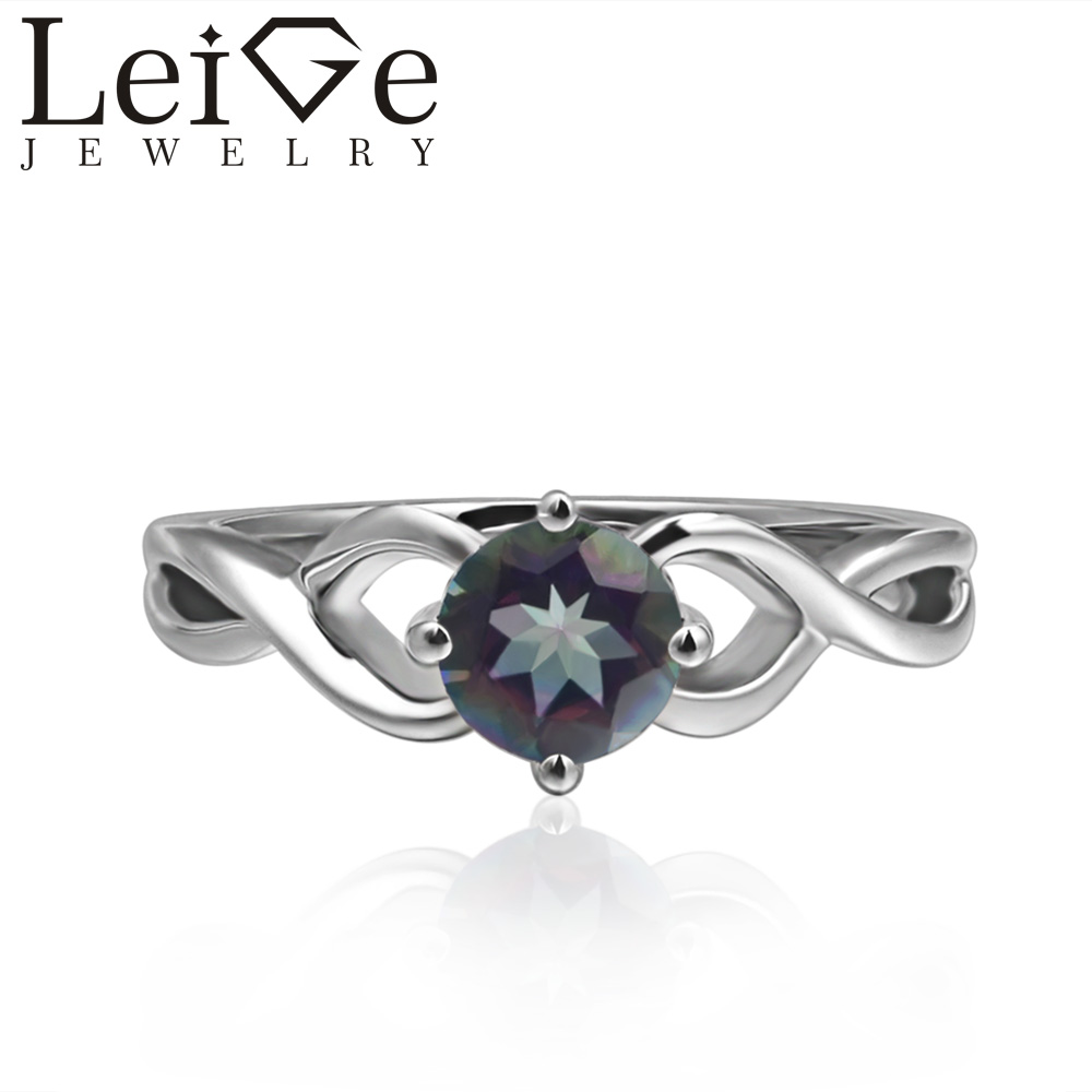 Leige Jewelry Round Cut Solitaire Mystic Topaz Rings Wedding Rings for Women Sterling Silver 925 Rainbow Gemstone