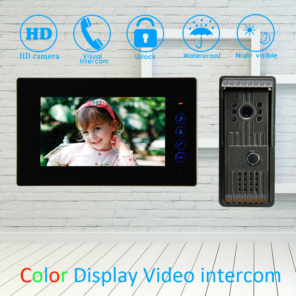 (1 Set) Metal Case Outdoor Unit 7'' TFT LCD Monitor Colorful Panel One To One Night Visible Doorbell Wire Video Door Phone