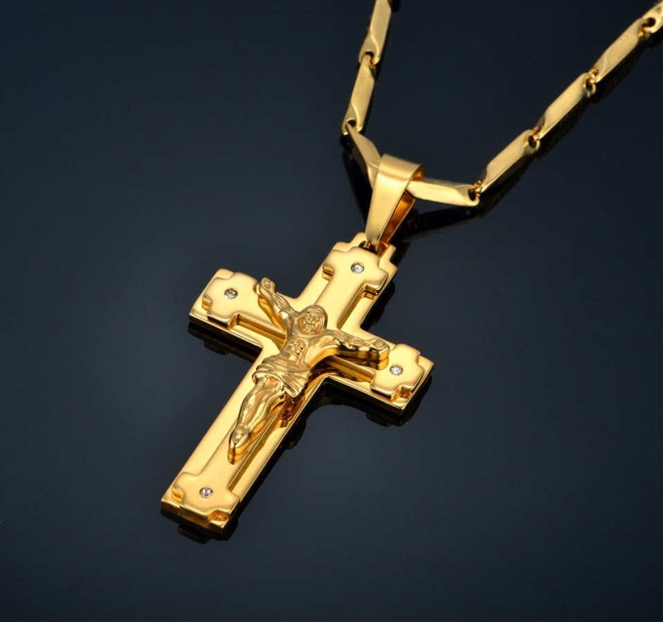 Gold Cross Chain Necklace Christian