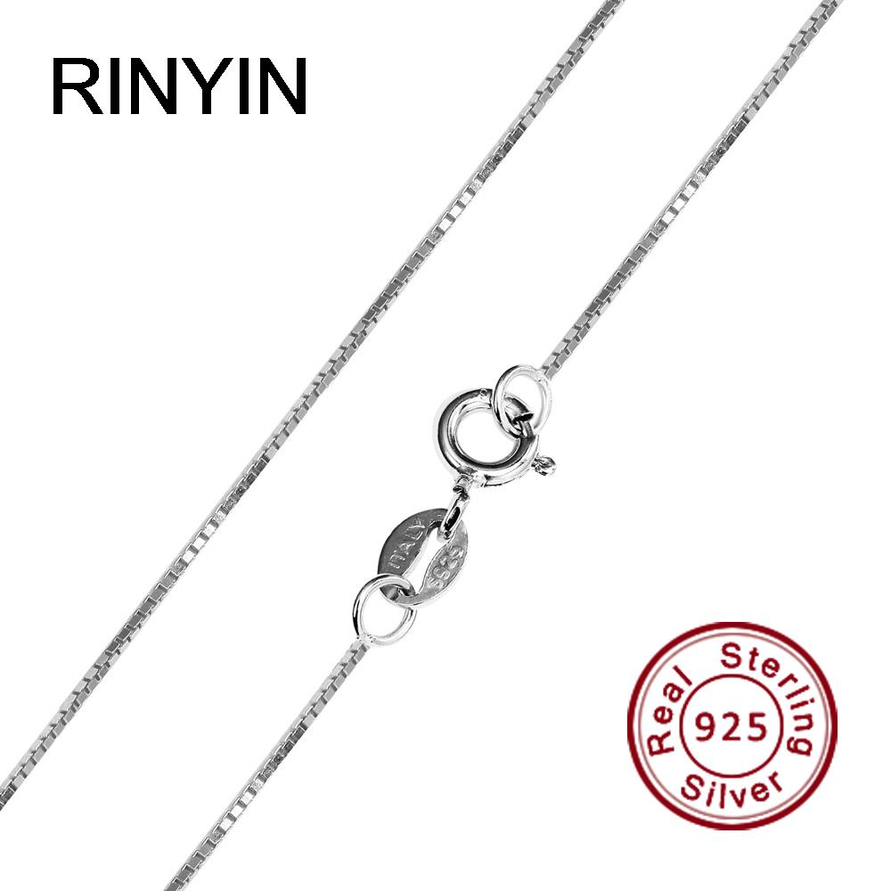 RINYIN 100% 925 Sterling Silver Necklace Fashion Jewelry 1mm 16/18/20/22/24 Inches Box Chain RINYIN 100% 925 Sterling Silver Necklace Fashion Jewelry 1mm 16/18/20/22/24 Inches Box Chain