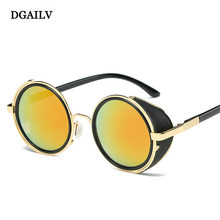 014bde1f345eb Steampunk Sunglasses Women Round Glasses Goggles Men Side Visor Circle Lens  Unisex Vintage Retro Style Punk sunglasses for DG34