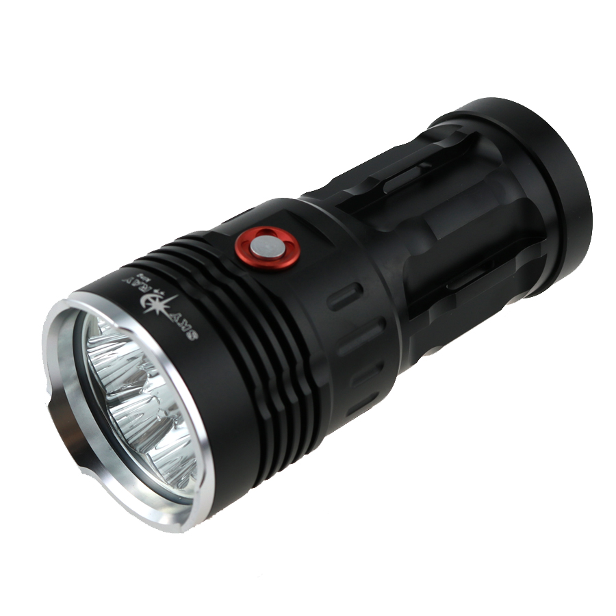 New 4500LM Black SKY RAY King 3-Mode 4x CREE XM-L T6 LED Torch Lamp Flashlight (4x18650 battery) new klarus xt11gt cree xhp35 hi d4 led 2000 lm 4 mode tactical led flashlight free usb port and 18650 battey for self defence