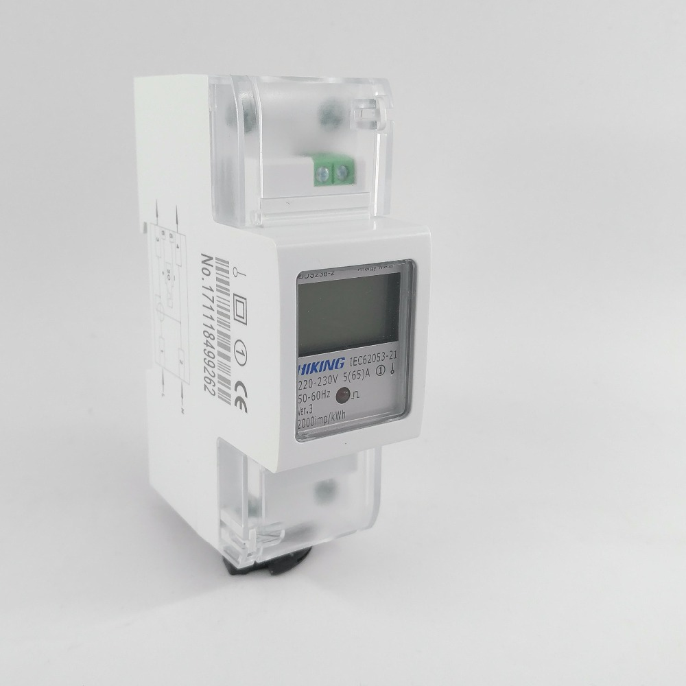 5(65)A 220V 230V 50HZ 60HZ DDS238-2 Single phase Din rail KWH Watt hour din-rail energy meter LCD 5 65 a 230v 50hz display voltage current positive reverse active reactive power single phase din rail kwh watt hour energy meter