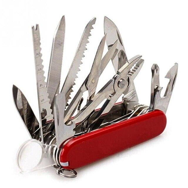 Suizo de múltiples funciones 91mm acero inoxidable del cuchillo plegable herramienta al aire libre de la caza del bolsillo que acampa cuchillo de la supervivencia