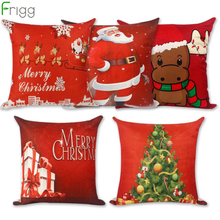 Frigg Merry Christmas Letter Tree Cushions Cover LED Home Sofa Decorative Cushion Covers Funny Cotton Linen Deer Case