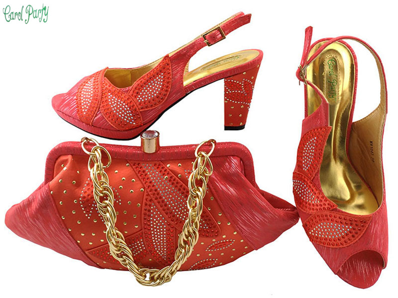 African Wedding Shoes and Bag Sets  Women Pumps Decorated with Rhinestones Italian Design Shoe and Bag Set MM1043 fashion italy design italian matching shoe and bag set african wedding shoe and bag sets women shoe and bag to match tmm1 41