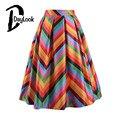 DayLook Vintage Summer Style Rainbow Striped Pleated Midi Skirt Tutu High Waist Knee-Length Office Womens Skirts Saia