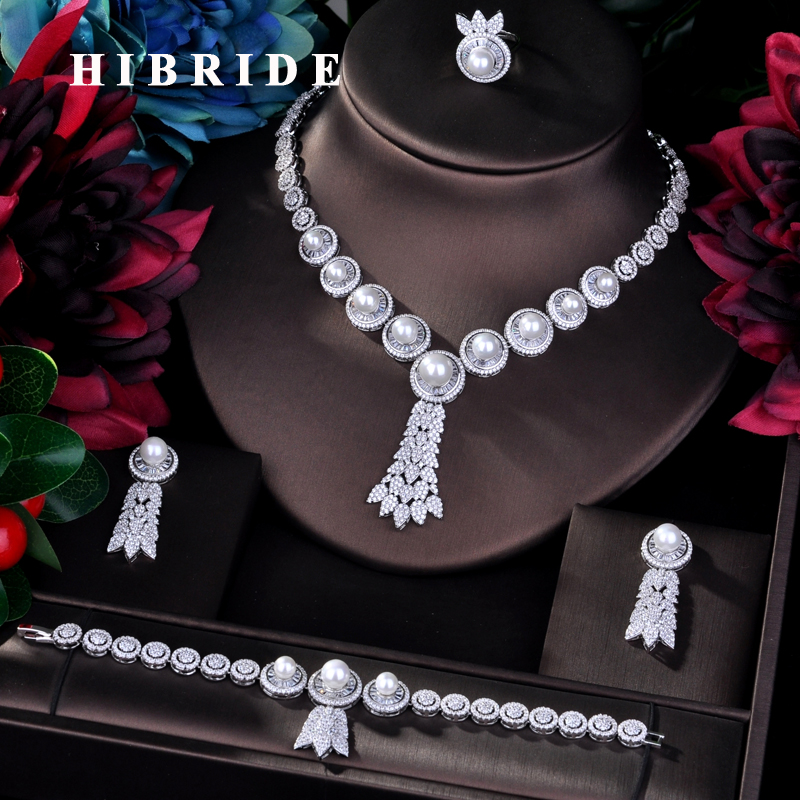 HIBRIDE Luxury 4pcs Bridal Big Pearl Jewelry Sets For Women Party Wedding Accessories Dubai Bangle Earring