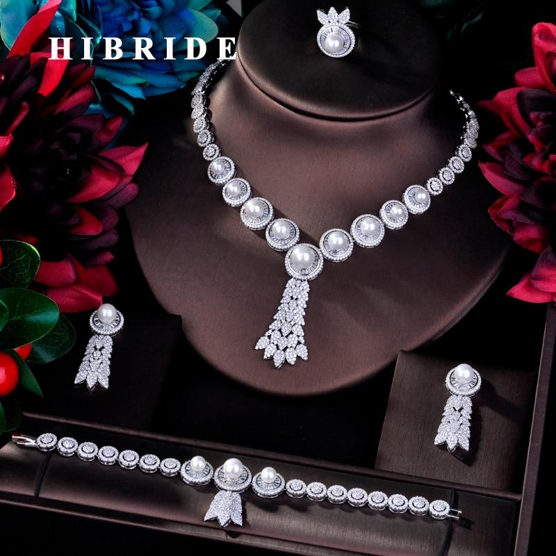 HIBRIDE Luxury 4pcs Bridal Big Pearl Jewelry Sets For Women Party  Wedding Accessories Dubai Bangle Earring Jewelry N-766HIBRIDE Luxury 4pcs Bridal Big Pearl Jewelry Sets For Women Party  Wedding Accessories Dubai Bangle Earring Jewelry N-766