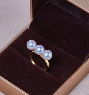 Bijoux de mariage AAA + + 7-7.5mm Réel naturel Akoya blanc perle ronde Anneau 18 kgold - 5
