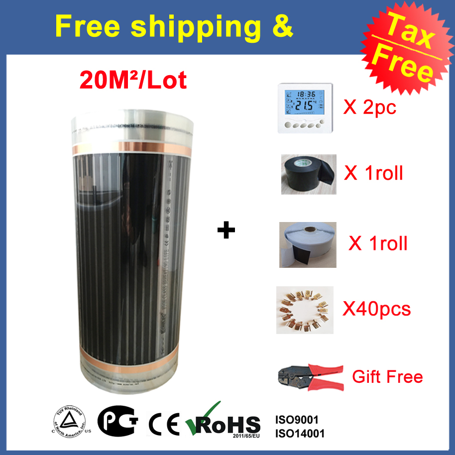 Tax Free 20 Sq Meters Floor Heating Film 0.5M*40M With Accessories Clamps 40Pcs Insulation Daub Insulation Tape And Clamp Pliers hot free shipping 10 square meter floor heating films thermostats clamps piler black tape insulating daub 0 5m 20m 220vac