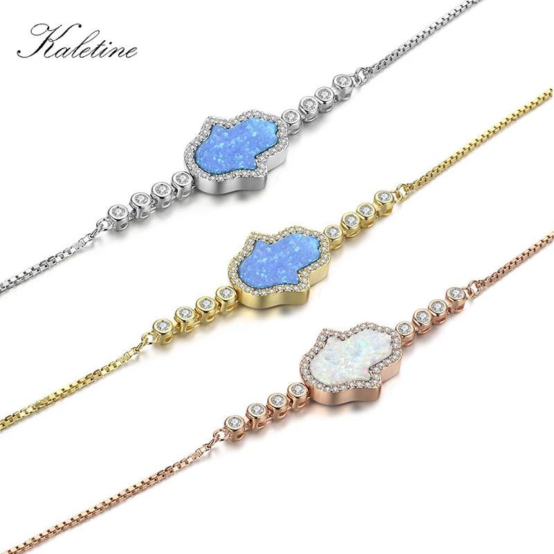 Ekte 925 sterling sølv armbånd Lucky Hamsa hånd av Fatima blå hvit syntetisk opal MOP øye armbånd for kvinner smykker