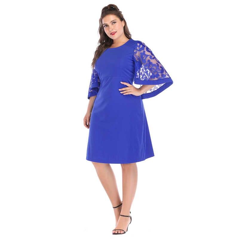 2018 дизайнерское Брендовое платье Плюс Размер 6XL Vestidos сексуальное летнее расклешенное рукав прямое длины до колена Повседневные платья сексуальное кружевное подарок