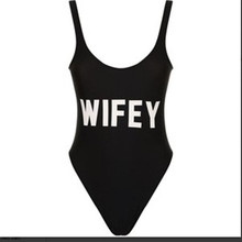 2017 WIFEY Funny Letters One Piece Swimsuits Women Sexy Monokini Bathing Suit Swim Suits Ladies Swimwear Jumpsuits Costume
