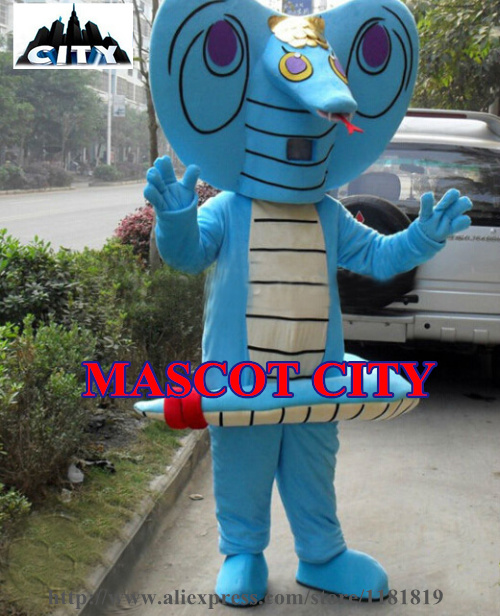 MASCOT CITY Blue Cobra Snake Mascot Costume Custom Cartoon Character Carnival Mascotte Costume Fancy Dress EMS FREE SHIP MC71342