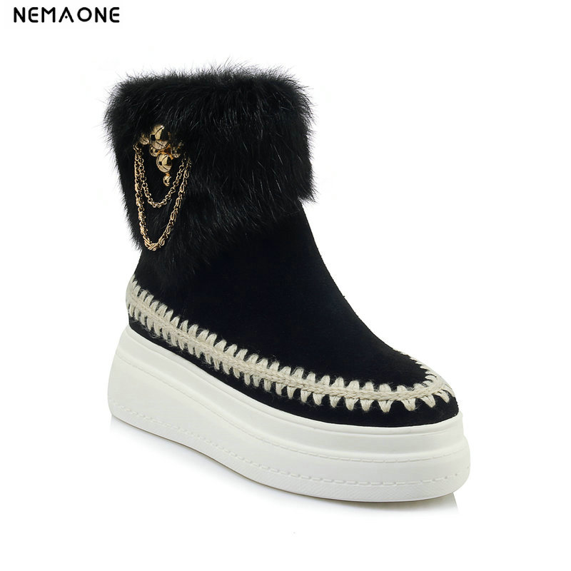 все цены на NemaoNe Fashion Women suede Leather Snow Boots Natural Rabbit Fur Winter Boots Warm Women Boots Shoes