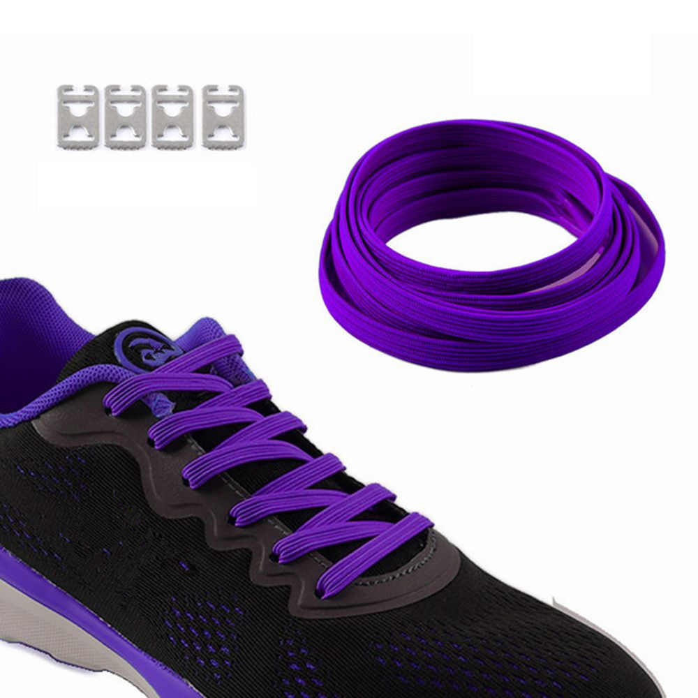 1 คู่ 100 ซม. ยืดล็อคไม่มี Tie Lazy Shoelaces รองเท้าผ้าใบยืดหยุ่นยางรองเท้าเด็กปลอดภัยเชือกผูกรองเท้า 12 สี