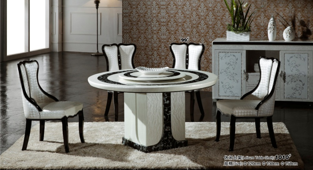 marble counter top wood dining table with 4 chairs set