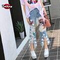 2016 новый весна лето женщин новинка harajuku мультфильм leopard блестки прямые джинсы с отверстием