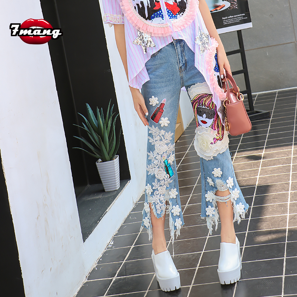 ФОТО 2016 new spring summer women's novelty harajuku cartoon leopard sequins straight jeans with hole