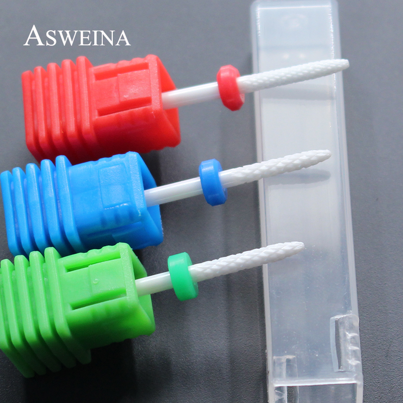 ASWEINA Professional 1Pcs Ceramic White Cuspidal Desgin Clean Bit Nail Drills 3/32