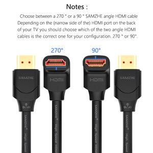 Image 2 - SAMZHE Cable HDMI Ángulo de 90 Grados HDMI al Cable de HDMI 2 K * 4 K 1 M 1.5 M 2 M 3 M 5 M 1080 P 3D para TV Proyector PC PS3 PS4