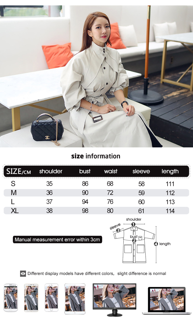 new arrival high quality women fashion comfortable loose a-line trench coat professional temperament outdoor warm long trench 1
