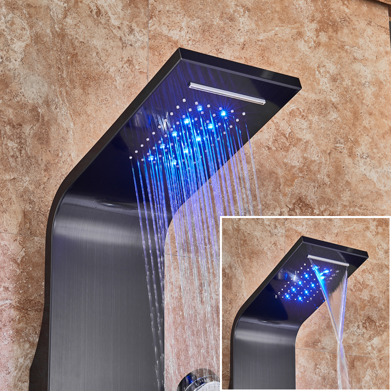LED Light Shower Faucet Bathroom Waterfall Rain Black Shower Panel In Wall Shower System with Spa LED Light Shower Faucet Bathroom Waterfall Rain Black Shower Panel In Wall Shower System with Spa Massage Sprayer and Bidet Tap