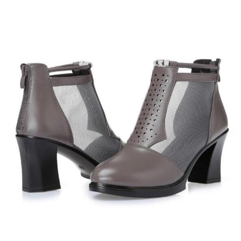 Talons Chaussures Creux Haute En Mode D'été Cuir Vache Femmes Véritable Peau Fraîches 2018 Nouvelle gris Gaze De Noir Sandales Bottes JTF3lcK1