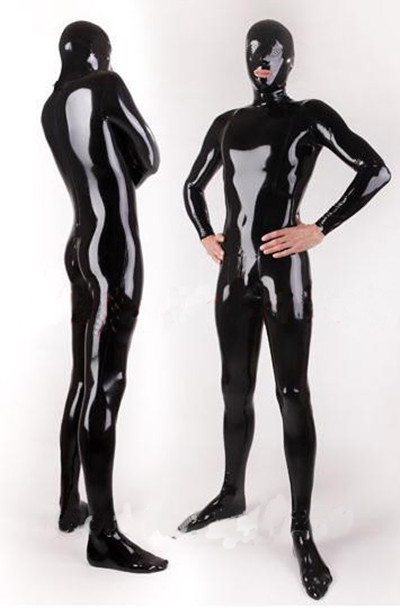 Buy 2015 New Fashion Sexy Full Cover Black Latex Catsuit  Man Fetish Erotic Costumes W/O Gloves Large Size Hot sale