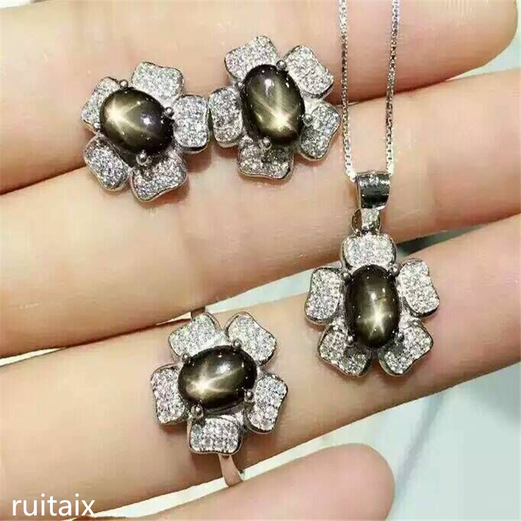 KJJEAXCMY boutique jewels 925 Pure silver inlay natural star sapphire alloy necklace + pendant + ring female orchid setKJJEAXCMY boutique jewels 925 Pure silver inlay natural star sapphire alloy necklace + pendant + ring female orchid set