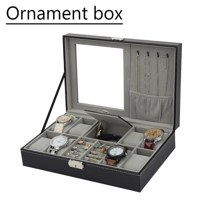 Multifunction watch jewelry box black PU leather watch box high-end watch d black out watch box