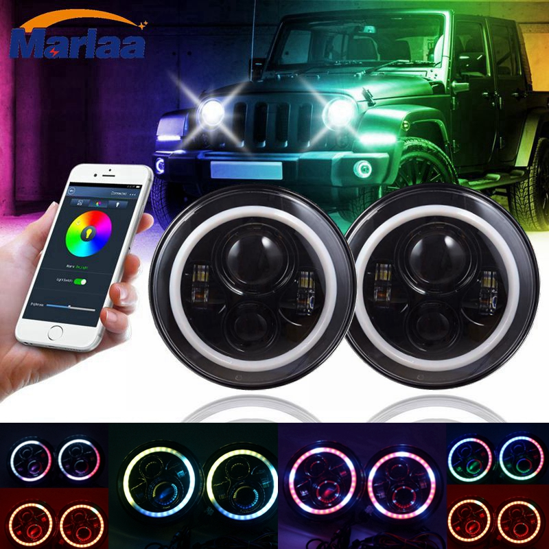 7 inch LED RGB Full Halo Headlights DRL w/ Turn Signal for 97-17 Jeep Wrangler JK TJ & Wrangler Unlimited