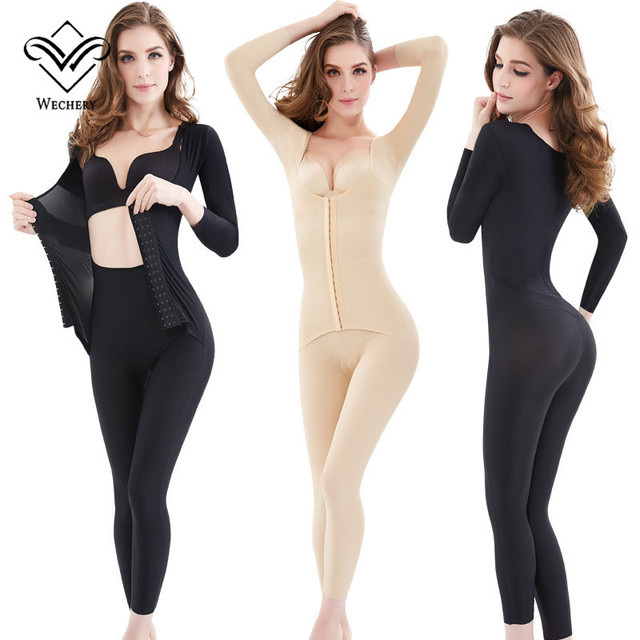 Wechery Body Shaper ใหม่ผู้หญิง Slimming ความยาวเต็มบอดี้สูทแขนยาว Faja หญิง Shapewear Plus ขนาดชุดชั้นในสตรี