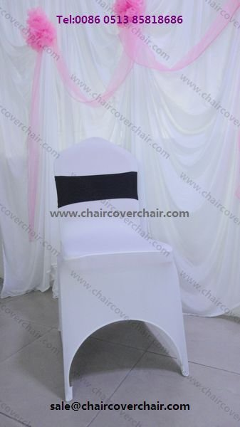 Free Shipping Wedding white universal lycra chair cover with front arch/110 pcs per parcel